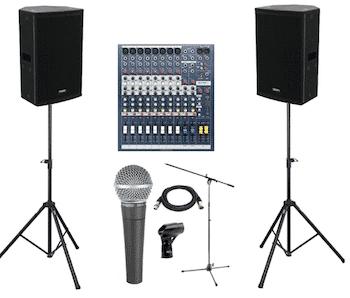 Geluidsinstallatie met microfoon huren