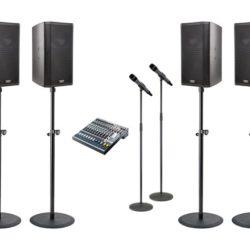 Geluidsinstallatie met 2 draadloze microfoons huren.